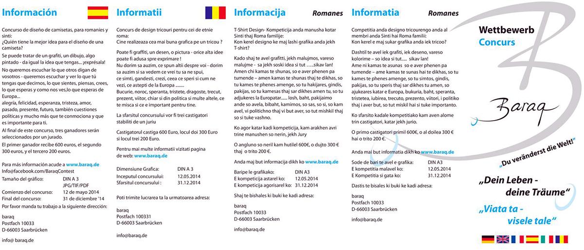 T-Shirt-Design-Wettbewerb Sinti und Roma in Rumänien - Mai 2014 » BARAQ